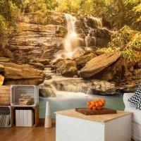 Sunny Waterfall fotostat - flot foto tapet til væggen