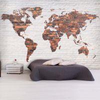 World Map: Brick Wall fotostat - flot foto tapet til væggen