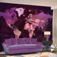 Purple World Map fotostat - flot foto tapet til væggen