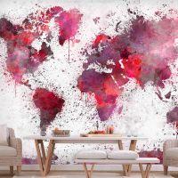 World Map: Red Watercolors fotostat - flot foto tapet til væggen
