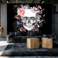 Skull and Flowers fotostat - flot foto tapet til væggen