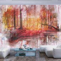 Maleri af skov i efterårsfarver fotostat - flot foto tapet til væggen