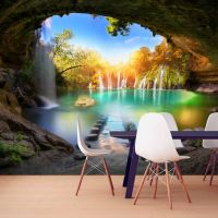 Turquoise Lake fotostat - flot foto tapet til væggen