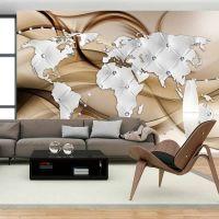 World Map - White & Diamonds fotostat - flot foto tapet til væggen