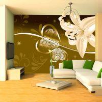 Lily in shades of green fotostat - flot foto tapet til væggen