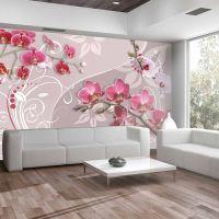 Flight of pink orchids fotostat - flot foto tapet til væggen