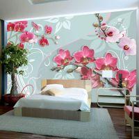 Pink orchids - variation II fotostat - flot foto tapet til væggen