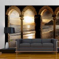Castle on the beach fotostat - flot foto tapet til væggen