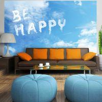 Be happy fotostat - flot foto tapet til væggen