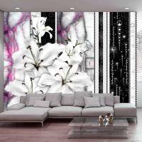 Crying lilies on purple marble fotostat - flot foto tapet til væggen