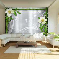 Bamboo and two orchids fotostat - flot foto tapet til væggen