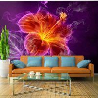 Fiery flower in purple fotostat - flot foto tapet til væggen