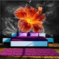 Fiery flower inside the smoke fotostat - flot foto tapet til væggen