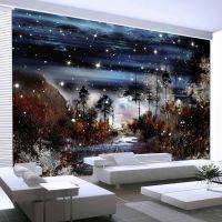 Night in the forest fotostat - flot foto tapet til væggen