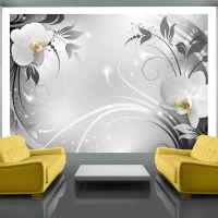 Orchids on silver fotostat - flot foto tapet til væggen