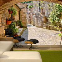 Provincial alley in Tuscany fotostat - flot foto tapet til væggen