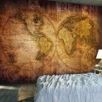 World on old map fotostat - flot foto tapet til væggen
