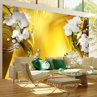 Orchid in Gold fotostat - flot foto tapet til væggen