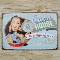 Emaljeskilt A clean House = Wasted Life - NiceWall.dk