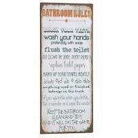 Bathroom Rules - Metal skilt. Flot blikskilt med regler til toilet og badeværelset.