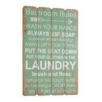Bathroom Rules træskilt - Flot skilt i træ med regler til toilettet - Vægdekoration til WC