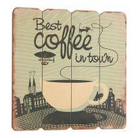 Best coffee in town Træ skilt. Flot retro skilt med tekst om kaffe.