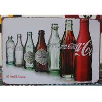 Emaljeskilt Coca Cola-flasker gennem tiderne - NiceWall.dk