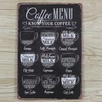 Emaljeskilt Coffee Menu - Know your Coffee - NiceWall.dk