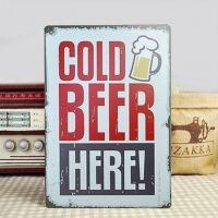 Emaljeskilt Cold Beer Here! - NiceWall.dk
