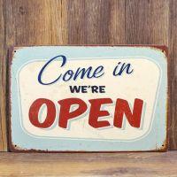 Emaljeskilt Come in We're Open - NiceWall.dk