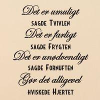 Wallsticker Det er umuligt sagde tvivlen - NiceWall.dk