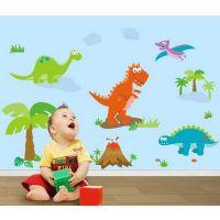 Dinosaur wall sticker - Sød vægklistermærke med dinoer - Selvklæbende vægdekoration