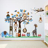 Dyr og træ i blåt Wall sticker - Flot vægklistermærke