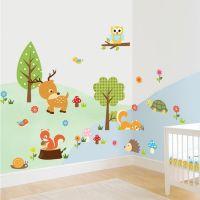 Små dyr wall sticker. Sød vægklistermærke med baby dyr.