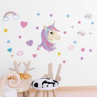 Enhjørning og regnbue wall sticker. Flot vægklistermærke til børne værelset med unicorn.