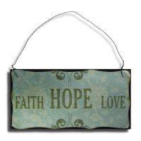 Faith Hope Love Træskilt - Flot skilt i træ med metalsnor - Væg dekoration