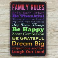 Emaljeskilt Family Rules #1 - NiceWall.dk