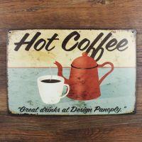 Emaljeskilt Hot Coffee - NiceWall.dk