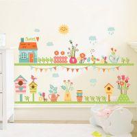 Hus med dyr og blomster wall sticker. Flot vægklistermærke i mange farver.
