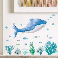 Hval og fisk wall sticker. Flot vægklistermærke til børne- eller bade værelset med bobler.