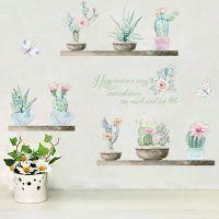Kaktusser i potter wall sticker. Flot vægklistermærke med planter.