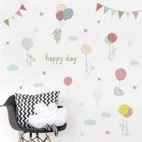 Kaniner og balloner wall sticker. Flot vægklistermærke pastel farver.