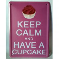 Emaljeskilt Keep calm and have a cupcake - NiceWall.dk