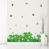 Kløver, blomster og sommerfugle wall sticker. Flot vægklistermærke med planter