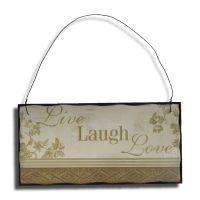 Live Laugh Love Træskilt - Flot skilt i træ - Sød vægdekoration