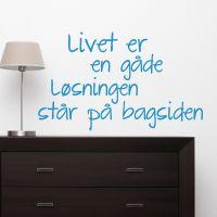 Wallsticker Livet er en gåde - NiceWall.dk