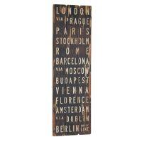 London via Prague træskilt - Flot skilt i træ med byer i Europa - Vægdekoration om rejse