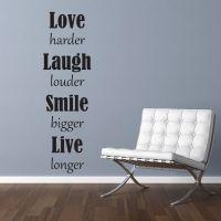 Wallsticker Love Laugh Smile Live - NiceWall.dk