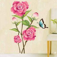Pink rose wall sticker. Flot vægklistermærke med blomster