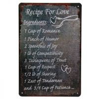 Recipe for love metal skilt - blikskilt om kærlighed